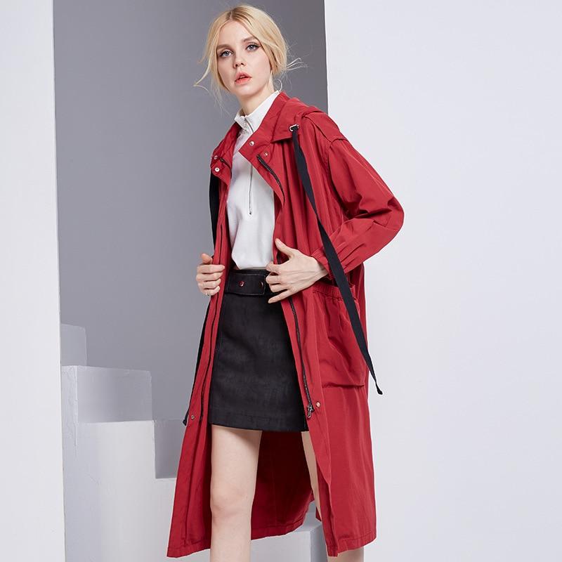 2018 Autumn Women   Trench   Coat Casacos Feminino Hooded Women Long Coat Casual Tops Women Outwear Loose   Trench   Coat