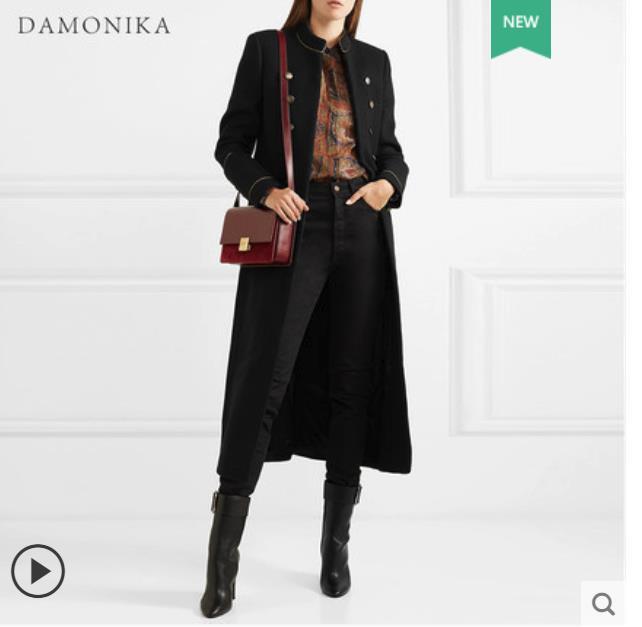 Manteau en laine noir pour femme 2018 nouveau automne/hiver vintage mi-long mi-long manteau en cachemire double face pour femme loo