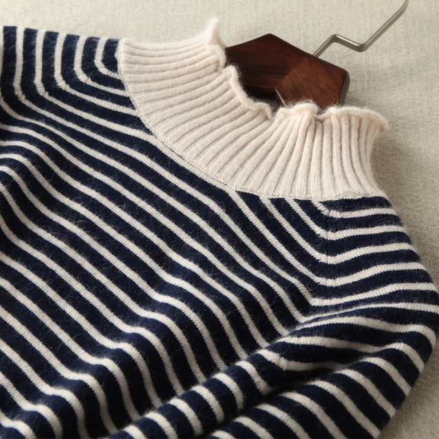 Female Long Striped Cashmere Sweater Women Half Turtleneck Knitted Christmas Sweaters And Pullovers Fashion Tops Warm Jumpers