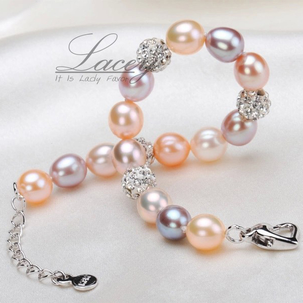 Fashion wedding natural freshwater pearl bracelet women,multic color 925 sterling silver bracelet jewelry charm birthday gift