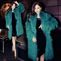 New milan Collections real Mongolian Lamb Fur coats and jackets , High quality Sexy Green Natural Long hair sheep fur coats