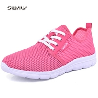 SWYIVY Women Running Shoes Hollow Breathable Super Light Sneakers 2018 Summer Shock Absorption Lace Up Female