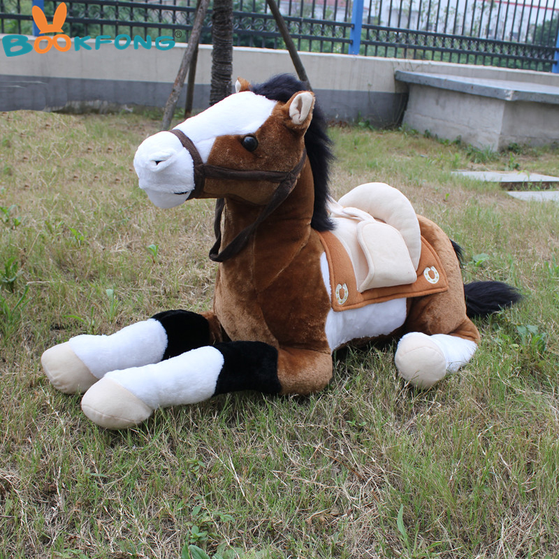 BOOKFONG 100CM Simulation Horse Plush Toy Stuffed Animal Toy Photograph Prop Toy Kids Birthday Gift Home Decoration bookfong 35cm alpacasso mud horse topper hat alpaca plush toy lovely stuffed animal sheep kids doll birthday gift