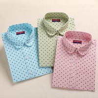 Hot New Women Blouses Long Sleeve Shirt Polka Dot Blusas Femininas 2015 Cotton Shirt Red Women