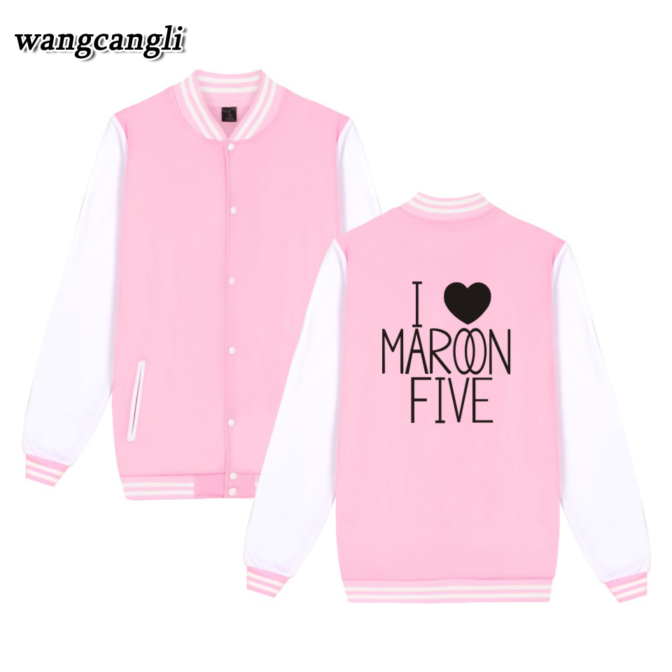 2018 MAROON 5 Spring Winter Baseball Jacket Sweatshirt For Couples Funny Anime Varsity Hoodies Men Cartoon Bomber Jackets Coat