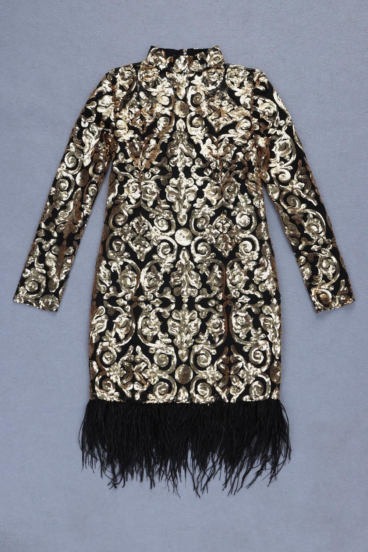 Noël Élégant À Robes Soirée Manches Celebrity Noir Night Robe Moulante Plumes Longues Paillettes De Club Femmes Bandage qRTgqUw