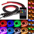 4Pcs 90CM 120CM Flexible RGB Car LED Strip Light Atmosphere Lamp Foot Lamp Car Bumper Rear Bottom Light With Remote Controller