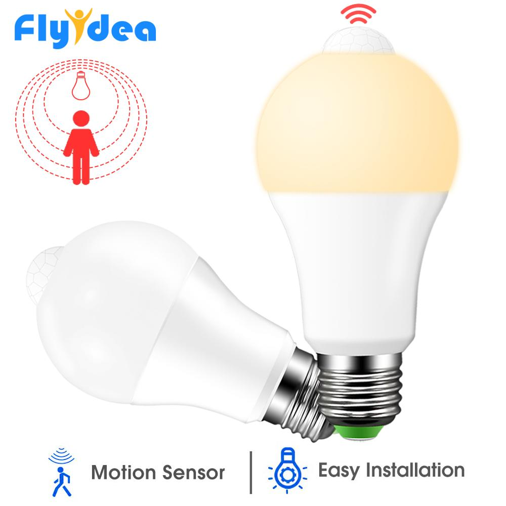 PIR détecteur de mouvement LED veilleuse 220V 110V 12W 18W crépuscule à l'aube ampoule intelligente ampoule IP42 Home lumières lampe avec capteur de mouvement