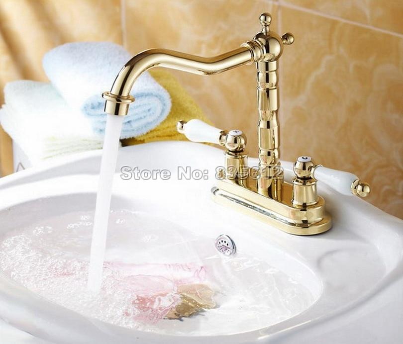 Здесь можно купить  Gold Brass Hot Cold Water Kitchen Water Faucet Tap Double Handle Hole Bathroom Sink Basin Mixer tap Faucets Wnf262  Строительство и Недвижимость