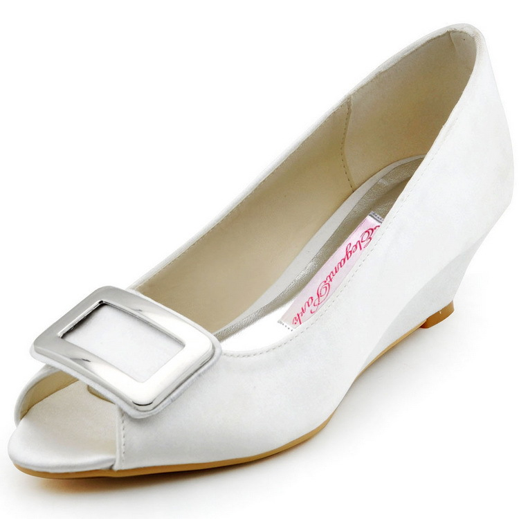 ФОТО New Design WP1401 Elegant Woman Shoes White Peep Toe Wedge Heel Square Buckle Satin Lady Evening Party Pumps Women Wedding Shoes
