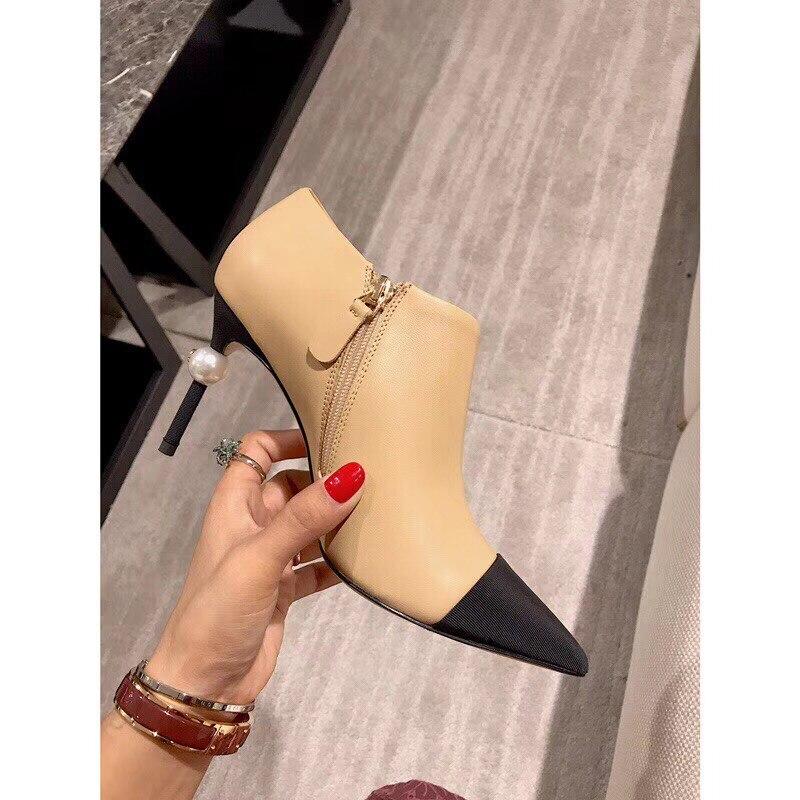 Tobillo apricot Kmeioo La Zapatos Genuino Finos Mujeres Botas Zip Cuero Shoelaces black De Mujer Las Moda Punta Perla Apricot Tacones wxxBYgFU