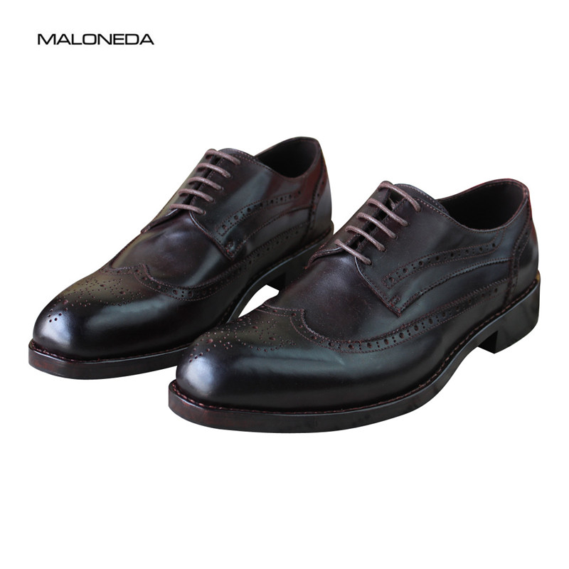 MALONEDA Pure Handmade Mens Dress Derby Shoes Genuine Leather Italian Style Lace up Brogue Shoes with Goodyear WeltedMALONEDA Pure Handmade Mens Dress Derby Shoes Genuine Leather Italian Style Lace up Brogue Shoes with Goodyear Welted
