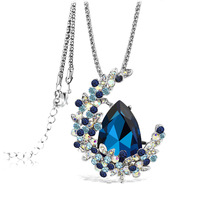 Super Long Bohemian Moon Shape Crystal Pendant Necklace Women Fashion Colorful Rhinestone Statement Necklace