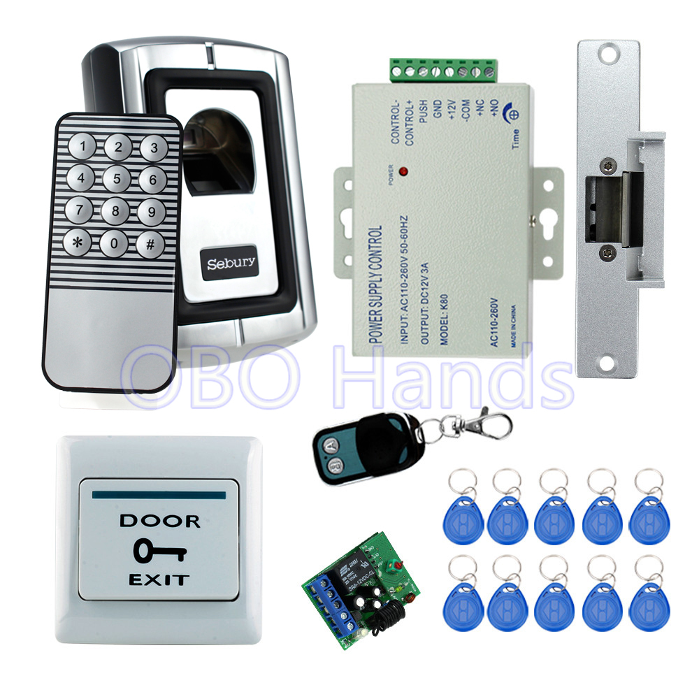 Full RFID finger scanner biometric fingerprint access control F007EM+180KG magnetic lock+power supply+exit button+remote control biometric fingerprint access controller tcp ip fingerprint door access control reader