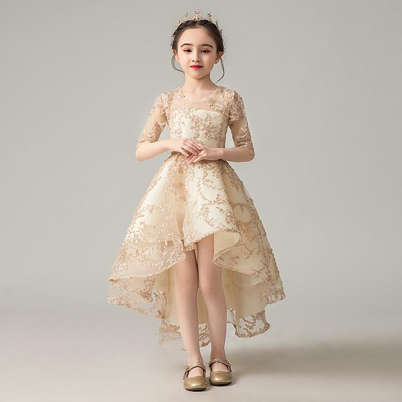 Baby Children's Ball Gown Vintage Cute Princess Girl Dress Wedding Party Kids Dress Children's Day Performance Costume Y426