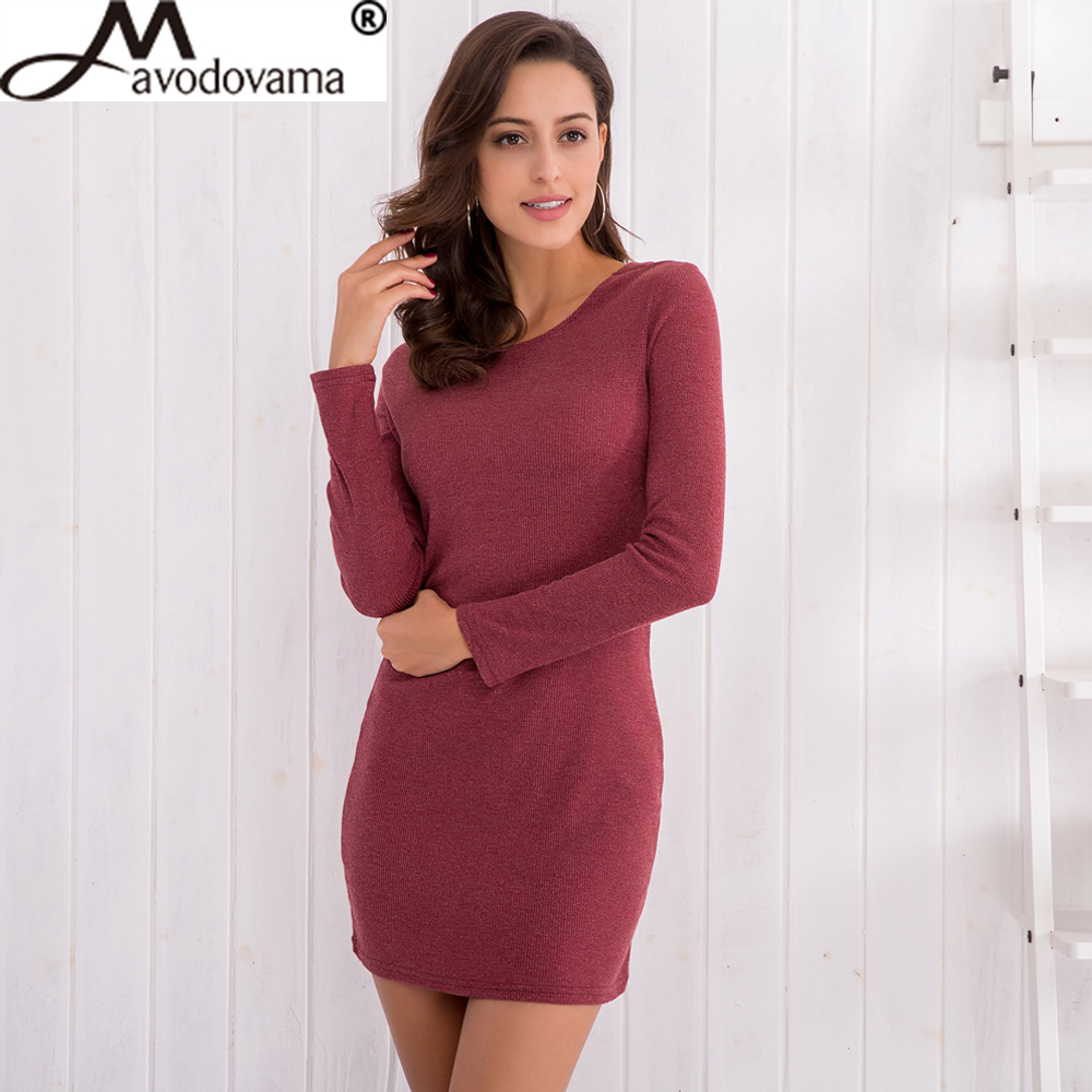 Avodovama M Spring Fashion New Casual Women Long Sleeve Sexy Party Bodycon Solid O Neck Elegant Knitted Mini Dresses elegant m
