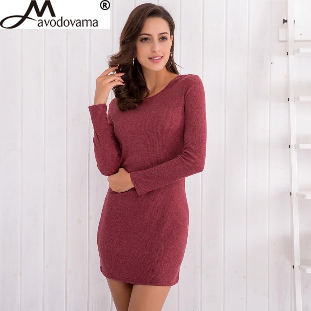 Avodovama M Spring Fashion New Casual Women Long Sleeve Sexy Party Bodycon Solid O Neck Elegant Knitted Mini Dresses fashion elegant m
