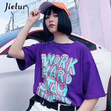 ФОТО jielur hipster letter print purple t shirt femme korean style harajuku tshirt women casual s-xl loose summer top white dropship
