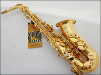 Best Selling French Selmer 802 E Flat Alto Saxophone Electrophoresis Gold Saxe Top Musical Instrument