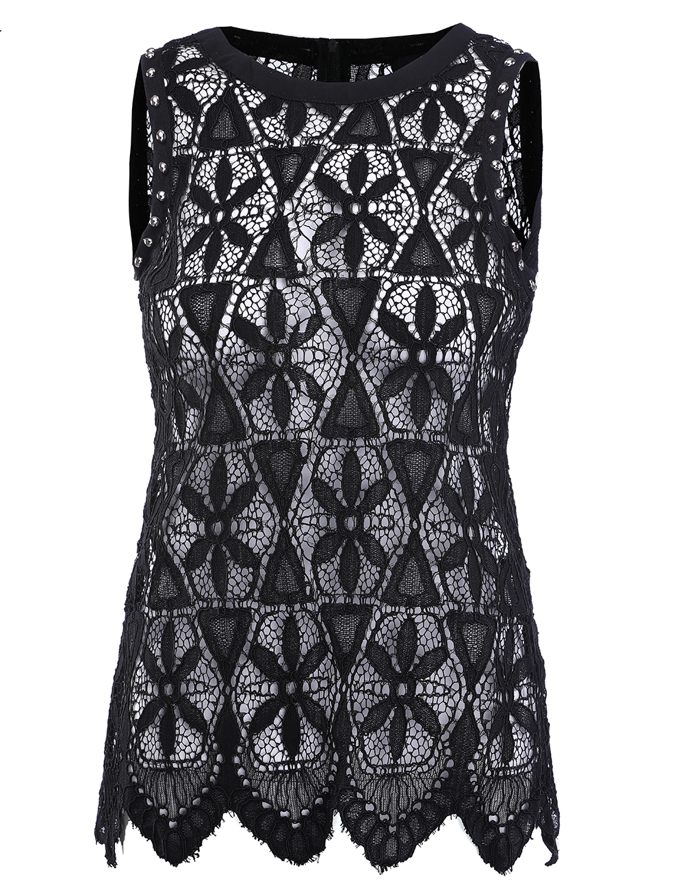 Women Blouse Shirt Femininas 2018 Summer Fashion Woman Lace Elegant Sleeveless Blusas Crochet Casual Shirts Tops Plus Size