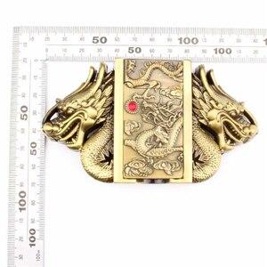 Image 5 - Cinturón de cuero con hebilla más ligera para hombre, cinturón con hebilla de dragón, de piel de vaca auténtica, encendedor de cigarrillos de gas