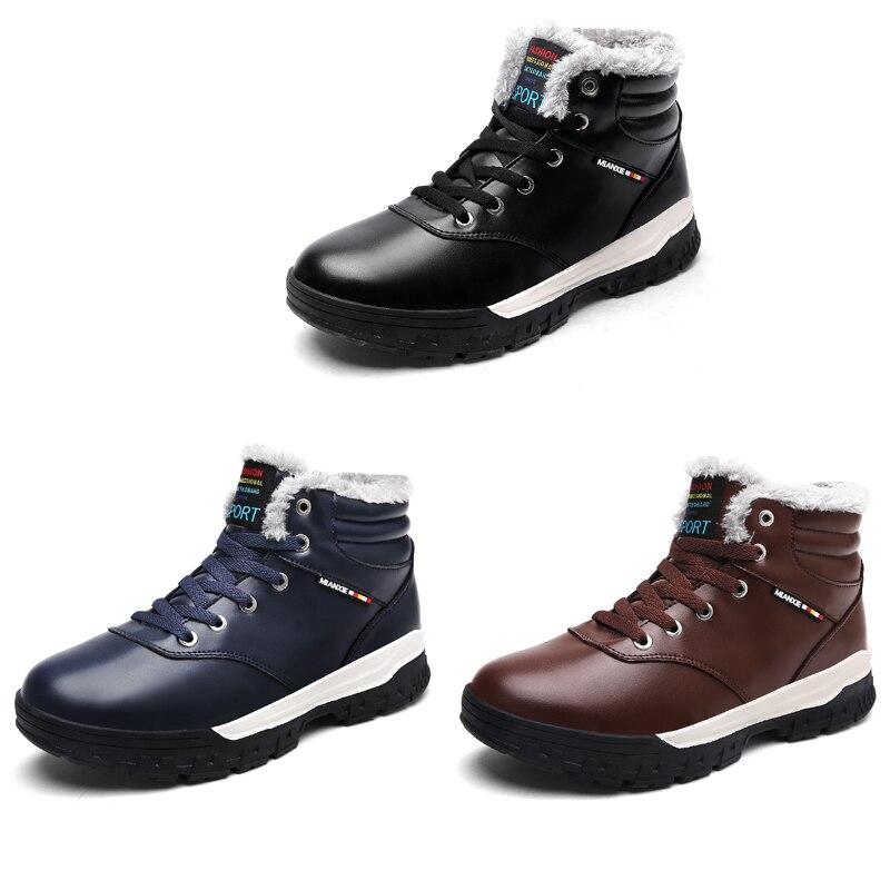 Homem azul Botas Moda Lace Size Negro Ankle Preto De Pelúcia Manter Com Dos Couro Pele Inverno Ngouxm Up Homens marrom Plus Quente Boots Tw1ffF