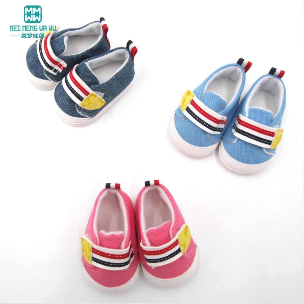 2019 NIEUWE mini speelgoed baby schoenen voor pop fit 43cm pasgeboren pop accessoires mode toevallige flats Roze, rose, kaki