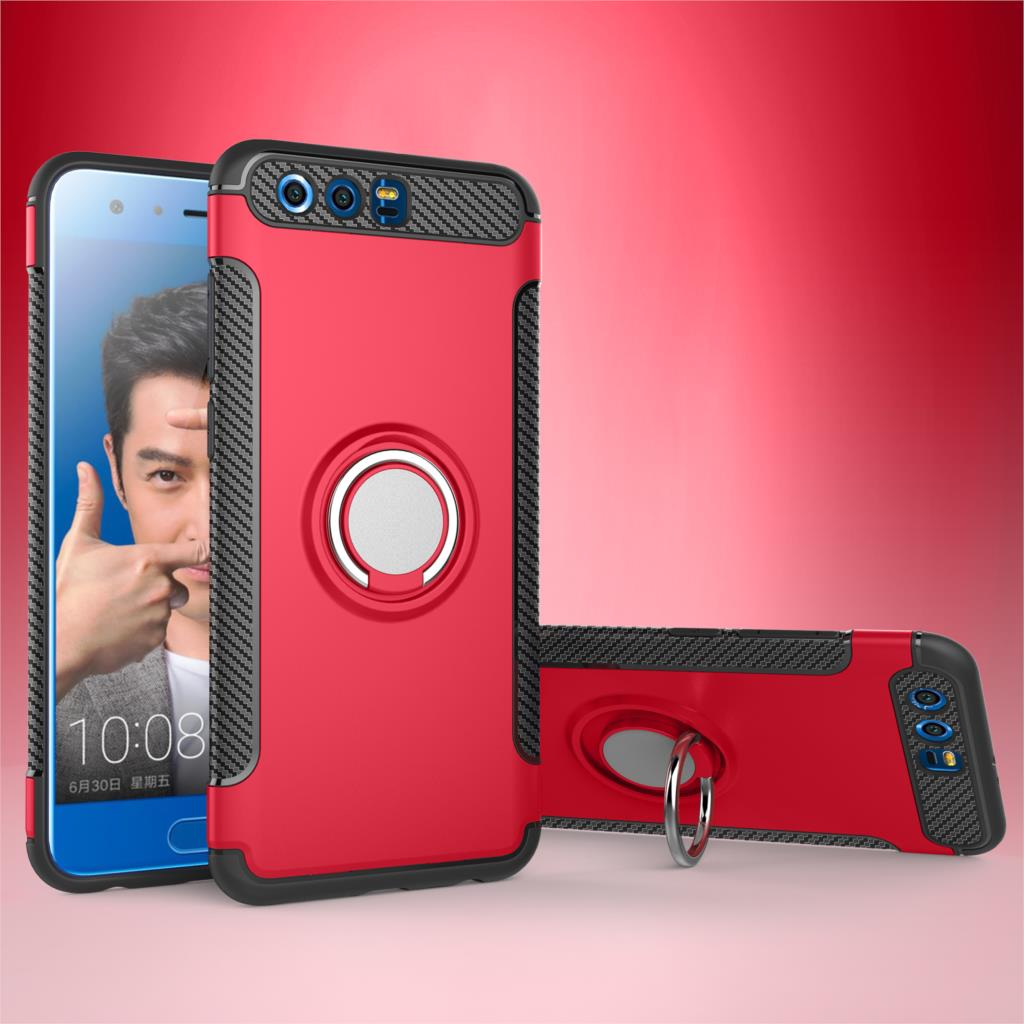 For Huawei Honor 10 9 Premium 8 Pro Lite V9 V10 7X Case Shockproof Finger Ring Stand Silicone TPU Protection Mobile Phone Cover
