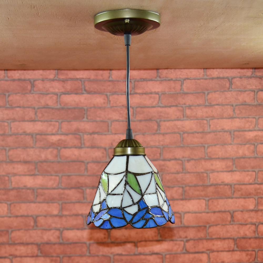Vintage E27 LED Aisle Light Retro Stained Glass Retro Loft Pendant Lamp Metal Hanging Lights For Dining Room Bedroom Hallway