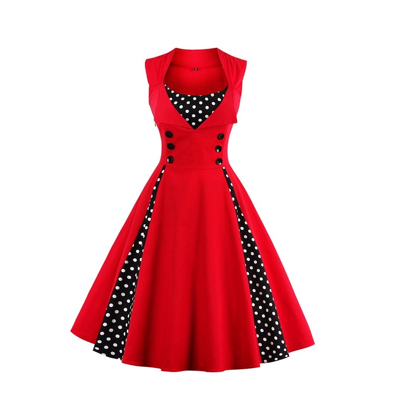 Women Vintage Dot Printing Sleeveless Mesh Patchwork Evening Party Swing Dresses