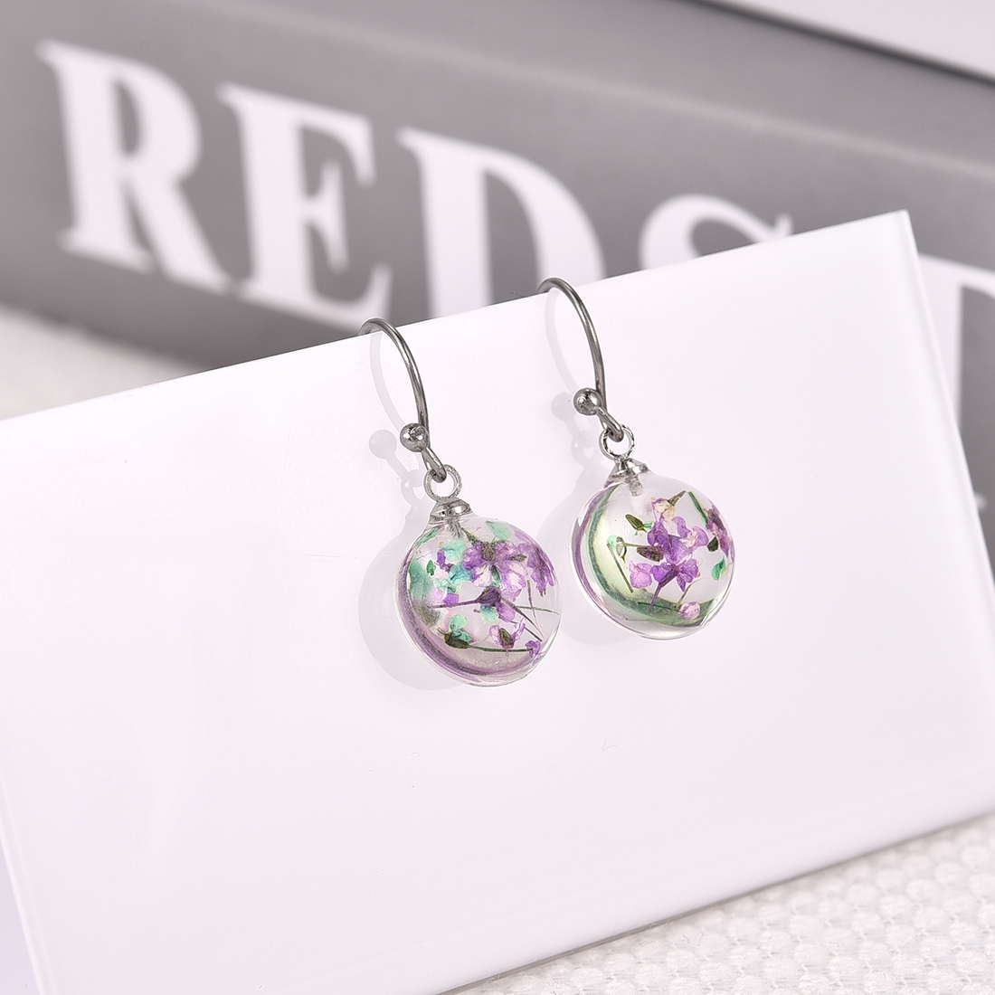 Creative Earrings: Aliexpress.com : Buy Creative Colorful Resin Dried Flowers