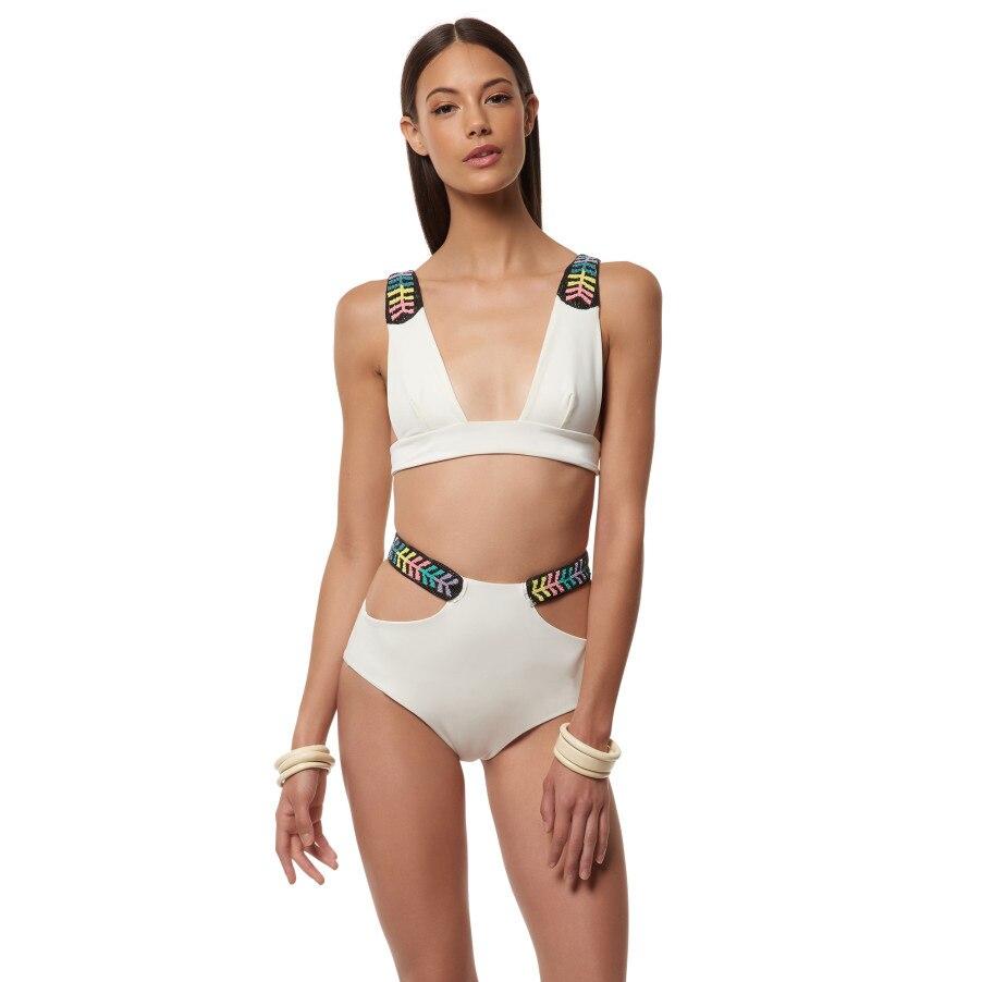 Sexy 2016 White Patchwork High Waist Swimwear Bikini Women ...