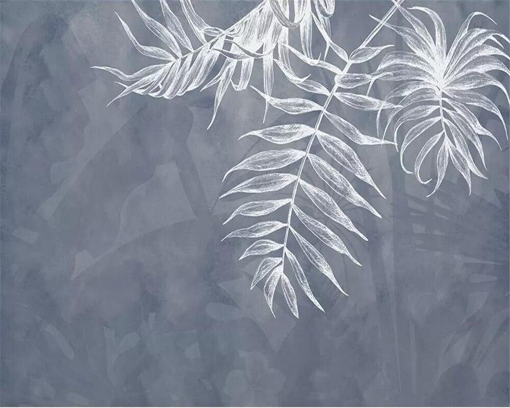 Купить с кэшбэком beibehang Plain style mural wallpaper leaf texture navy blue Nordic TV background wall living room bedroom murals 3d wallpaper
