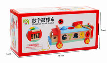 Childrens Wooden Early Learning Drawable Multifunctional Game Handcart Toy Shape Pairing Digital Cognitive Knocking Car
