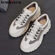 Lenkisen punk style genuine leather mesh ventilated high bottom platform buckle design round toe sneakers vulcanized shoes L73