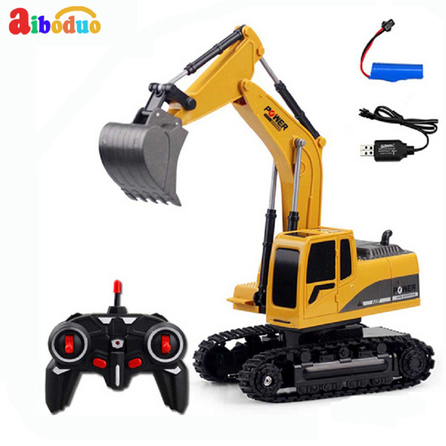 Rc Excavator Model Engineering Car 6 Channel RC Crawler Kit RC Excavator Charging With Battery RC Alloy Excavator Toys for kids