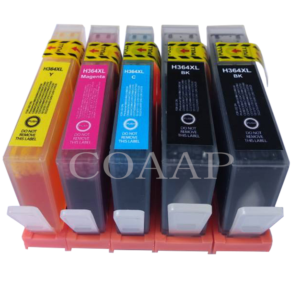 5Pack 364XL Ink Cartridge Replacement for <font><b>HP</b></font> <font><b>364</b></font> xl refillable cartridges for Deskjet 3070A 5510 6510 B209a C510a C309a Printer image