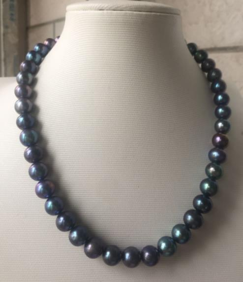 stunning round 9-10mm Tahitian black green pearl necklace 18inch 925 silverstunning round 9-10mm Tahitian black green pearl necklace 18inch 925 silver