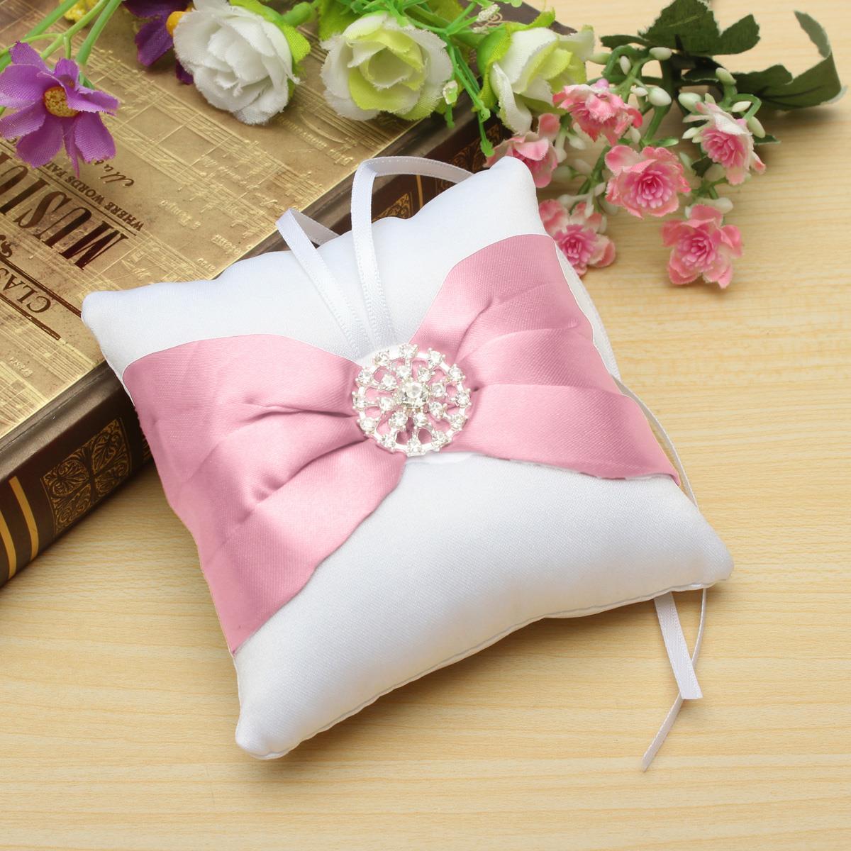 9cm*9cm Bowknot Diamante Display Cushion Romantic Wedding Ring Gift ...