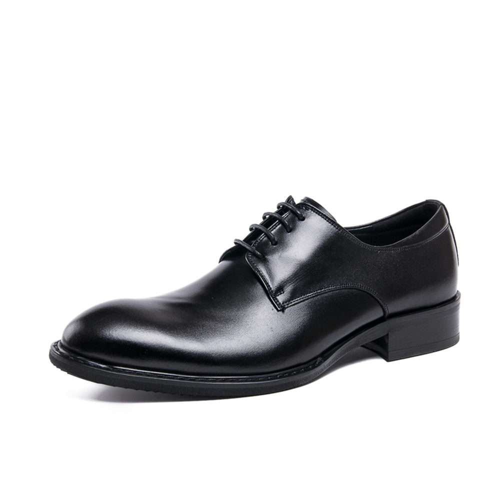 ФОТО 2017 New Men's Oxfords Shoes Genuine Leather Lacing Up Shoes Brogue Derby Round Toe Rubber Sole Dress Wedding Business Shoes