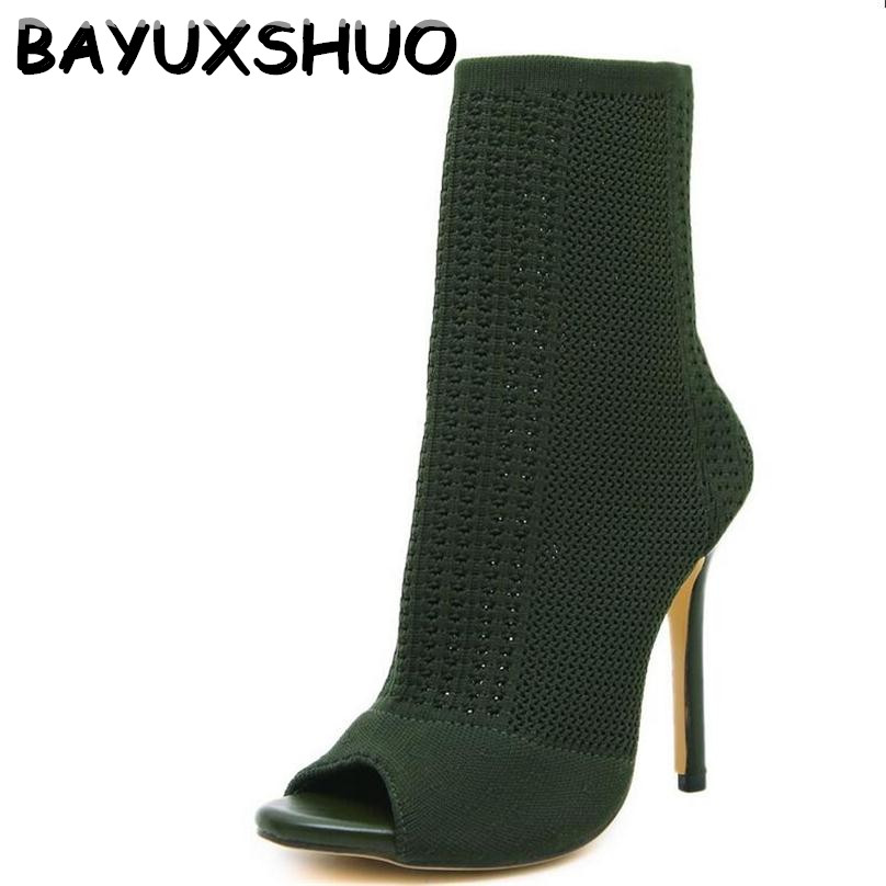 BAYUXSHUO New Fashion Designer Women Ankle Boots Stretch Knit High Heels Sexy Stiletto Pumps Sandals Sock Bootie Shoes Woman fashion kardashian ankle elastic sock boots chunky high heels stretch women autumn sexy booties pointed toe women pumps botas