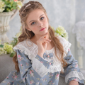 Princess Pajamas Women Sleepwear Female Long-Sleeve Woven 100% Cotton Sleepwear Lounge Set Royal Pyjama Lace Round Neck Floral