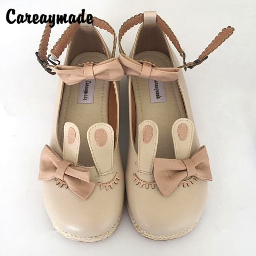 Careaymade-2017 new Japanese Korea style cute rabbit ears bow a Lolita straw thick bottom shoes,female flat shoes with bowknot