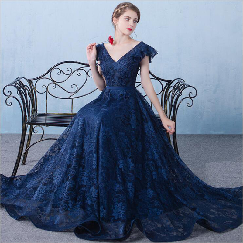 2019 New Vintage V neck A line Long Evening Dress Navy Blue Tulle Sexy Prom Party