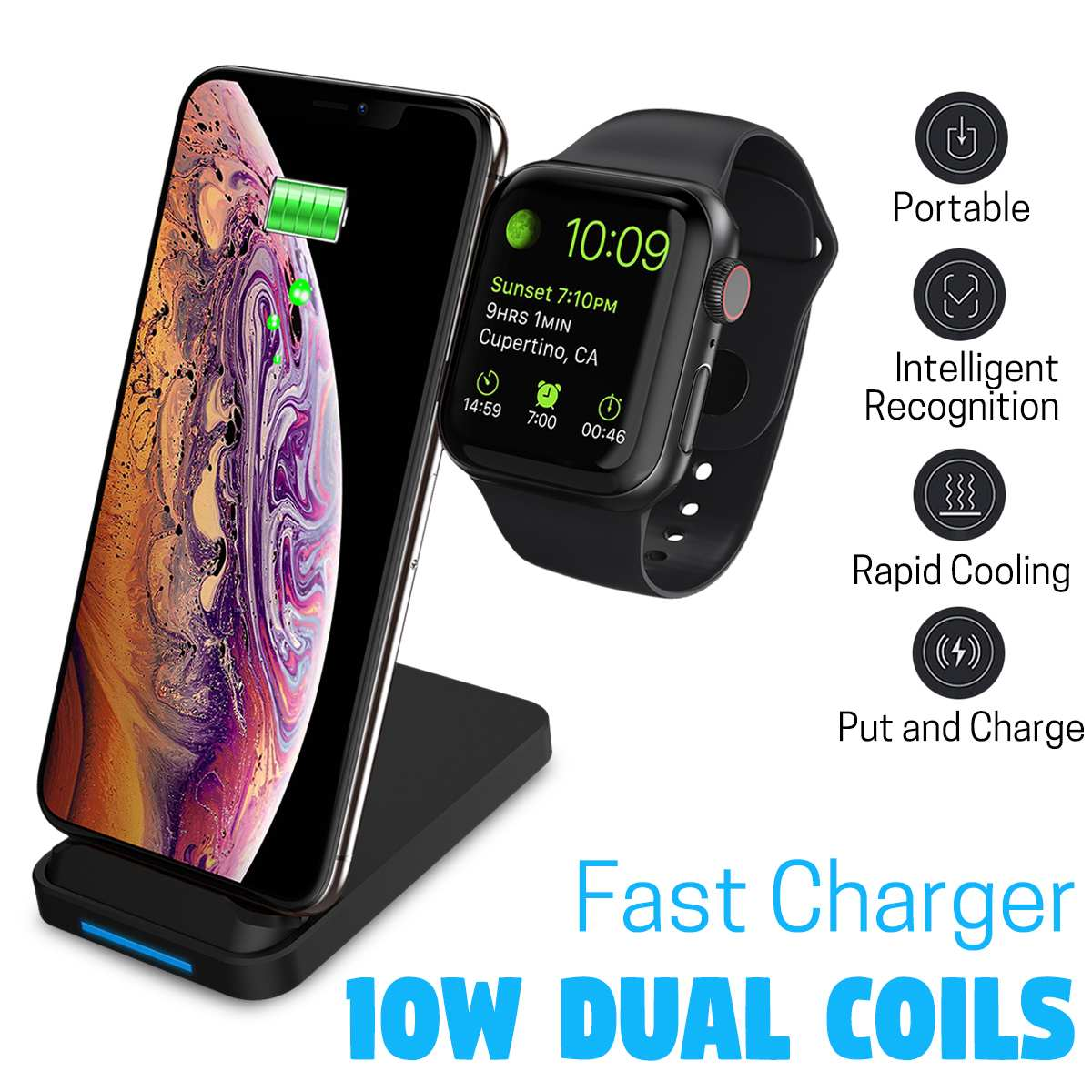 Fast Dual Coils Wireless Charger Dock Station 10W Qi Wireless Charger Pad Stand For Iphone X 8 for Airpod For Apple Watch 4 3 2
