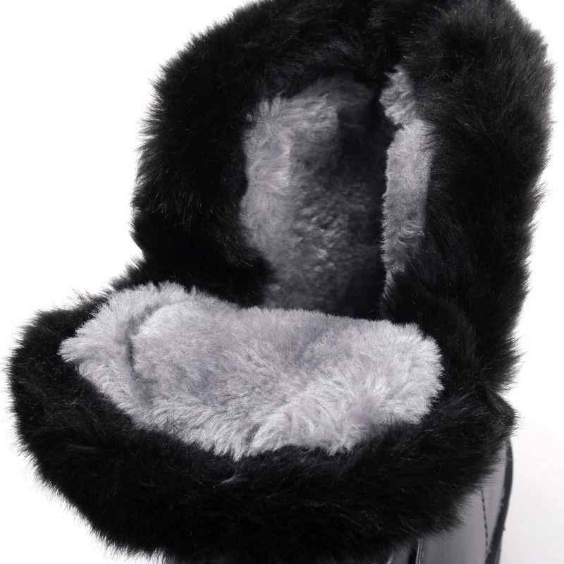Artı boyutu 35-44 Yeni 2020 Kar Çizmeler platformu kadın kış ayakkabı su geçirmez yarım çizmeler lace up kürk çizme beyaz siyah siyah beyaz