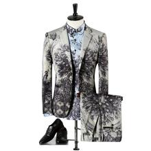 2017 New Men Suit Blazer+Shirt+Pants Printing Casual Suits Mens Set Dancer Singer Dress Performance Show Nightclub Clothing