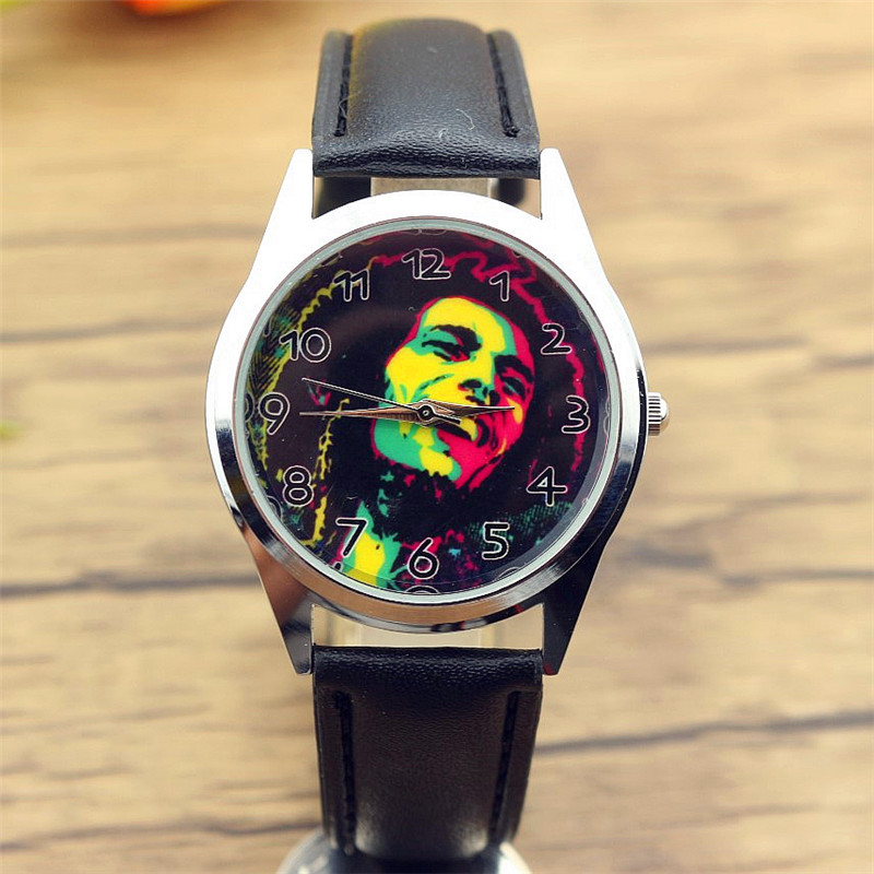 free shipping unisex casual Jamaica Bob Marley dial quartz watch women and men teenager fashion round black leather gift clock jamaica jamaica no problem
