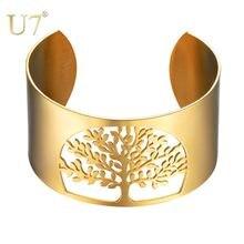 U7 Браслет манжета Древо жизни большой винтажный браслет из