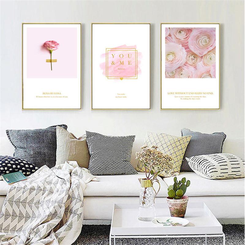 HAOCHU Flower Pink Rose Nordic Canvas Painting Wall Art